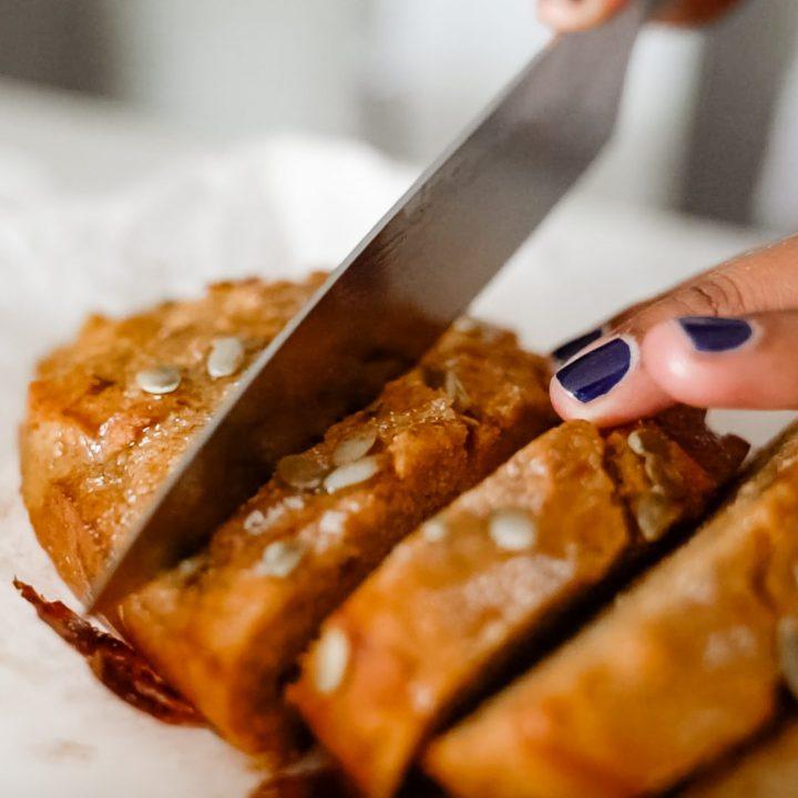 Cutting pumpkin spice bread