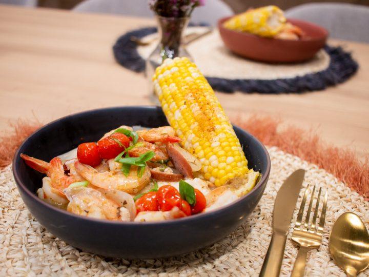 Cajun Inspired Shrimp Boil + Grits